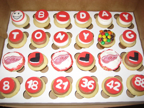 Red Wings birthday box cupcakes | by kgroovy