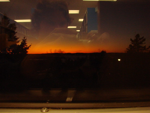 sunset reflection window work view library cubicle