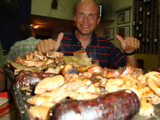 Ola with the meat feast in Salta, Argentina | by Liam and Hels - Big Trip