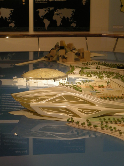 Saadiyat Island: the Performing Arts Centre, with the Louvre and the Guggenheim beyond