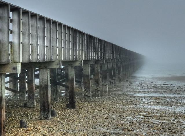 Low tide and fog - Powder Point Bridge
