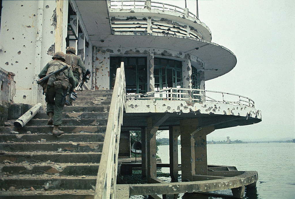 Hue 1968 - View of US Marines Climbing Stairs
