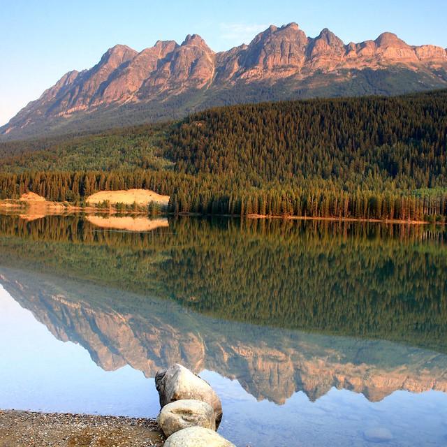 Stitched shot (3 photos) of Yellowhead Lake near Jasper National Park
