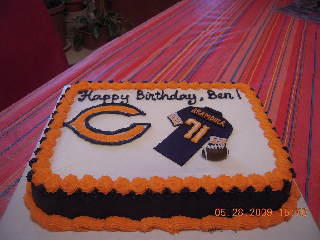 Brilliant Chicago Bears Jersey Cake Jersey And Football Made Of Fond Flickr Funny Birthday Cards Online Fluifree Goldxyz