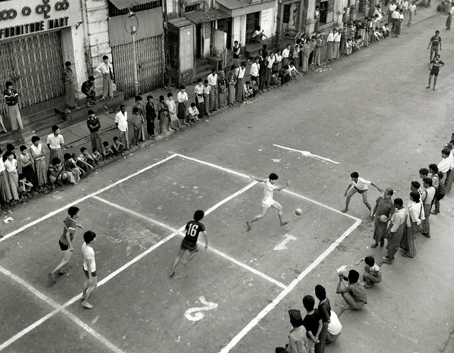 street football match, Rangoon Burma