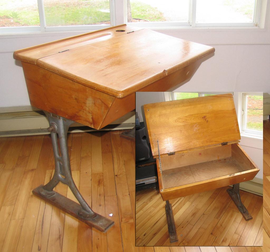 Peachy Antique Childs School Desk Solid Wood Cast Iron Legs Flickr Download Free Architecture Designs Xoliawazosbritishbridgeorg