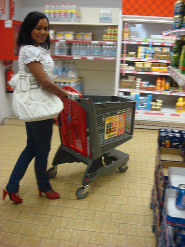 Woman Shopping with Red Plastic Shopping Cart. | by Polycart