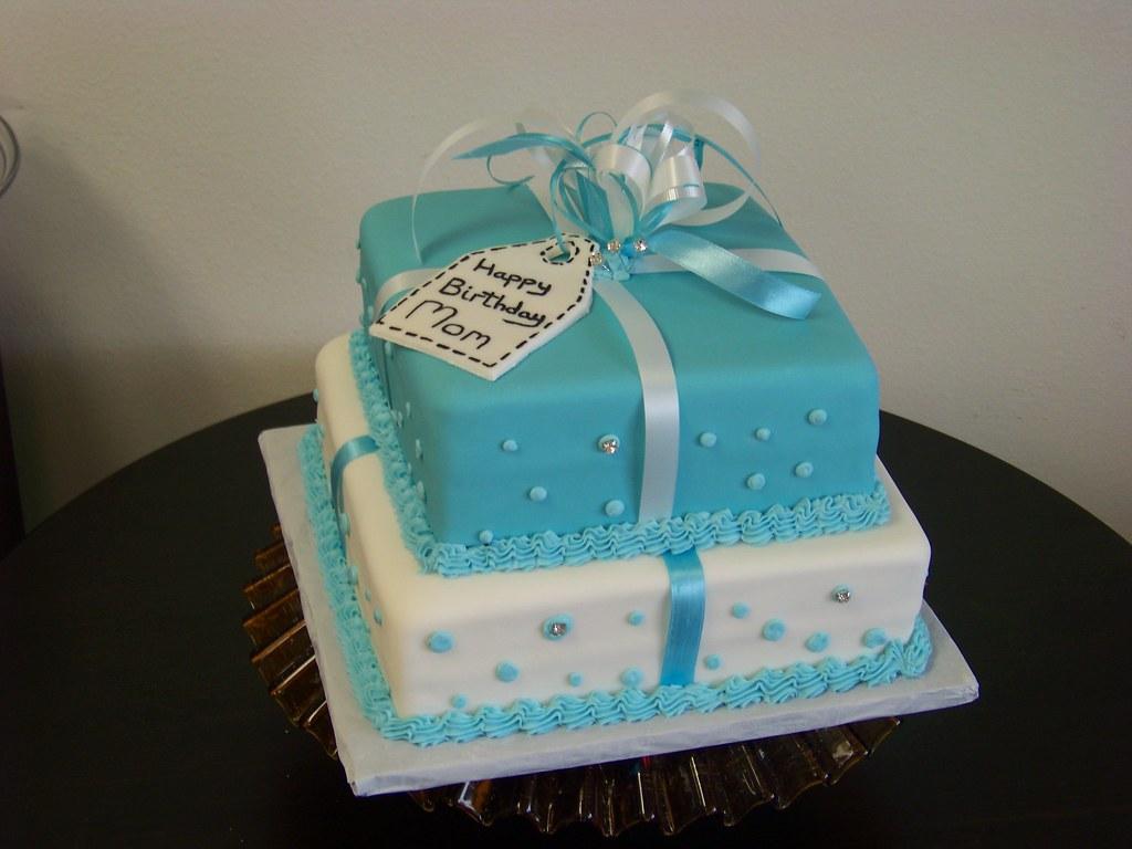 Amazing Tiffany Blue Present Birthday Cake Tc27Jkw Flickr Funny Birthday Cards Online Chimdamsfinfo