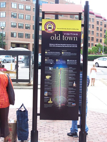 Wayfinding sign for Alexandria at the King Street Metro station