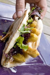 Chickpea Fry Pita Sandwich 2 | by FoodMayhem.com