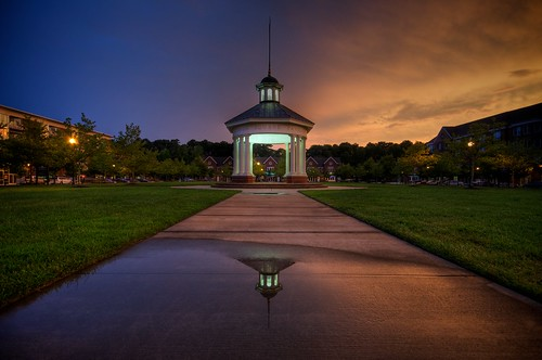 sunset storm reflection wet grass night clouds puddle virginia nikon sigma bluehour 1020 hdr pavillion newportnews d90 portwarwick photomatix project365 byronsquarepavilion