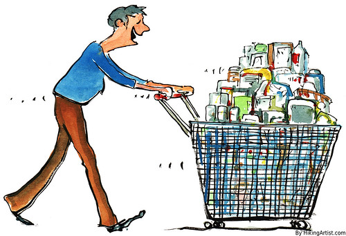 Shopping illustration | by Frits Ahlefeldt FritsAhlefeldt.com
