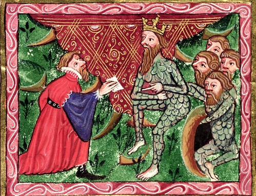 Alexander and Dindimus. Bodleian Library MS. Bodl. 264, f. 215r