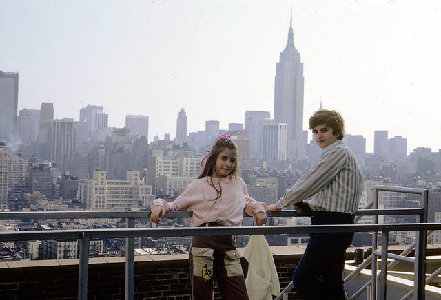 My sister and I on top of old Port Authority Building. I looked so nerdy at age 14! 15th street and 8th avenue. March 1973. New York