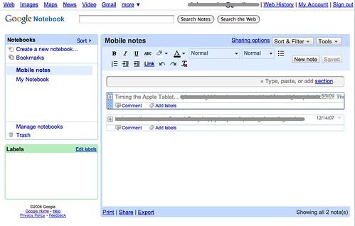 Mobile notes - Google Notebook | google com/notebook/ | Chris
