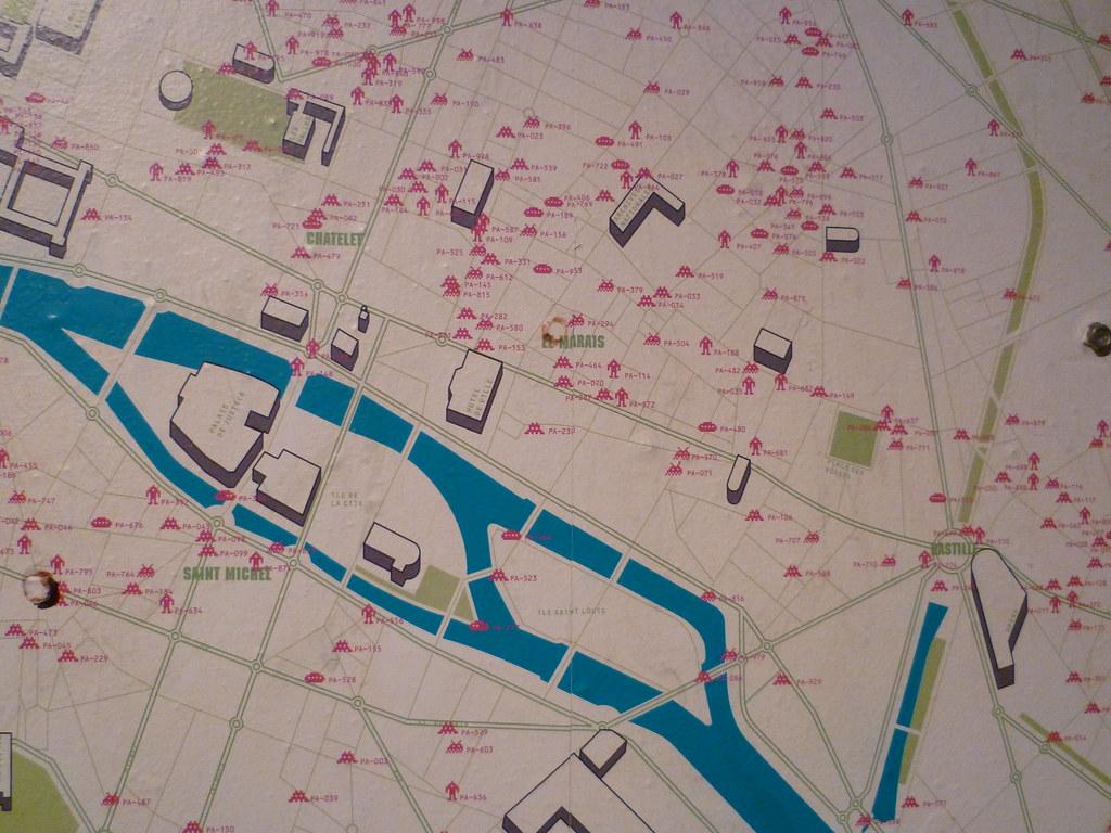 space invaders paris carte Plan de la grande invasion des Space Invaders à Paris   a photo on