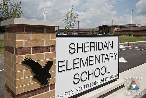 school sign architecture landscape outside exterior display indianapolis parking engineering associates indiana architectural architect signage schmidt architects sheridan sai entry elementary k12 engineers schmidtassociates