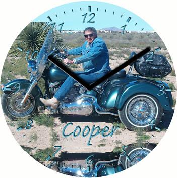 Blue Steele Harley Motorcycle Clock   by customclockface