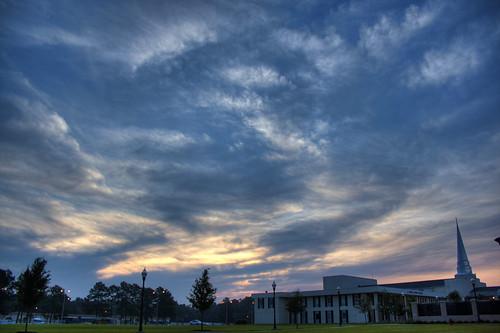 clouds sunrise steeple hdr csu photomatix charlestonsouthern lightseychapel