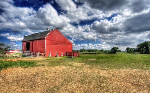 blue red summer sky horses green colors grass animal clouds barn colorful day cloudy farm country sunny wideangle hay hdr sigma1020mm d90 wideopenspaces tonemapped nikond90 photomatix31