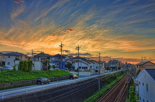 sunset japan train 日本 aichi okazaki hdr 愛知県 岡崎市 canon450d