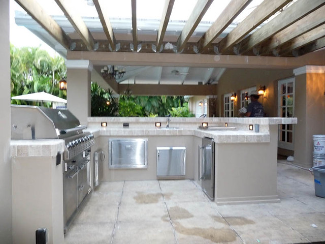 Custom Outdoor Kitchen Built In Grill Pergola Custom