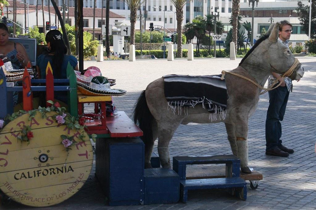 Olvera Street Donkey   A fake donkey pulling a fake cart at