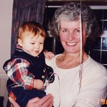 Oliver Michael Gilbert's 1st birthday party Feb 1996. With grandmother Ann Patricia Griffiths
