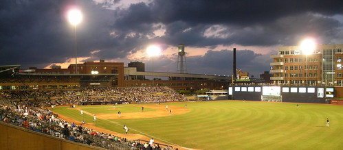 sunset panorama game field clouds lights durham baseball northcarolina ballpark minorleague durhambulls durhambullsathleticpark