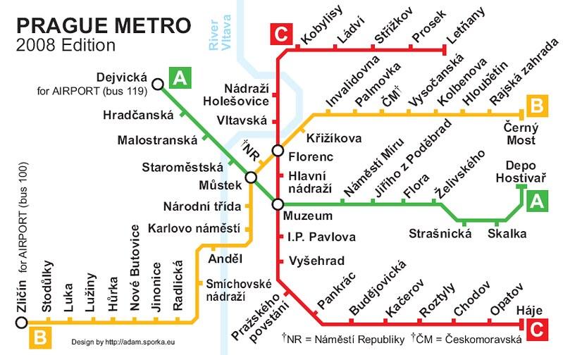 English map prague subway in Prague Tram