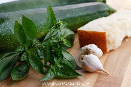 Zucchini, Grana Padano cheese, basil, garlic