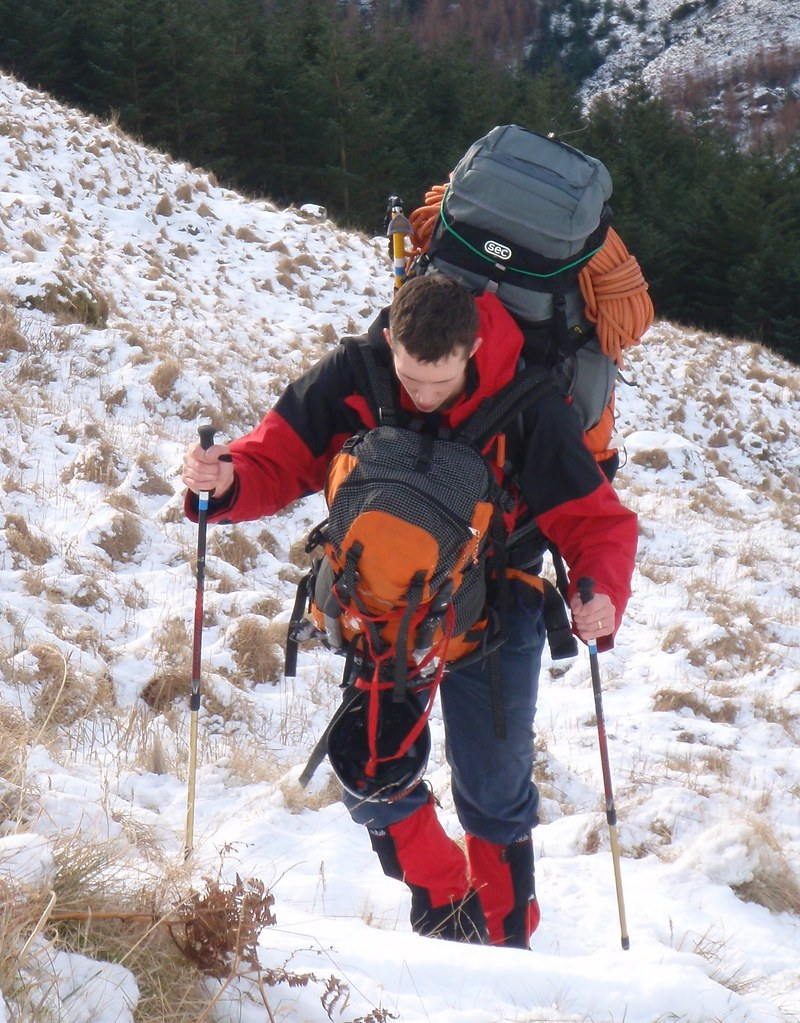 37 - Laurence in Arrochar Alps.  We two carried a huge amount of load, for our stay of three nights wildcamping, including three ice axes for each, a pair of trekking poles for each, a snow shovel, a snow stake, all the winter climbing gear, a good deal of dinner, two sets of stoves etc.
