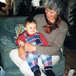 Oliver Michael Gilbert with Ann Patricia Griffiths. Visiting newborn Tom Giles, Dec 1995
