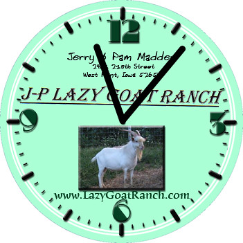 J-P Lazy Goat Ranch Business Clock | by customclockface