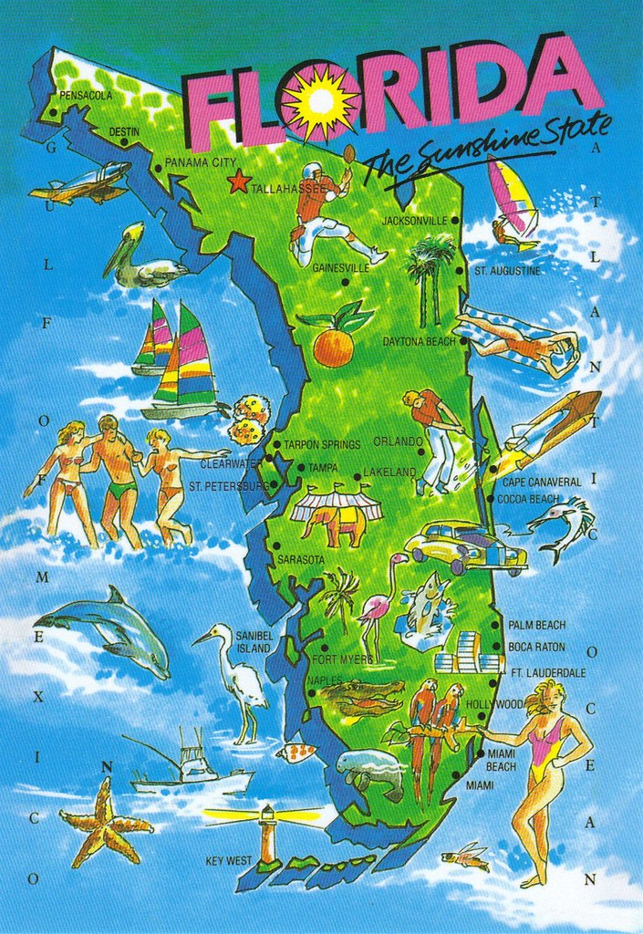 Large Map Of Florida.Large Florida Map Postcard Special Trade As This Oversiz Flickr