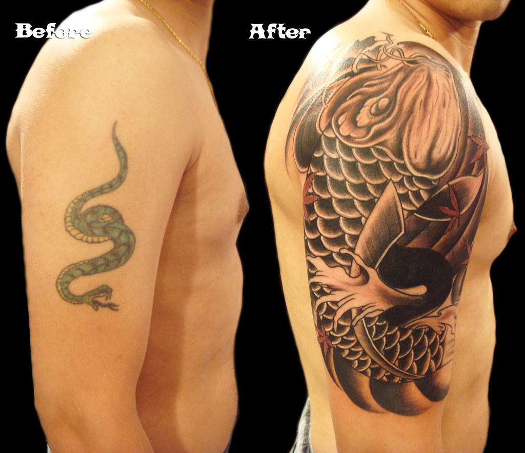 Koi fish tattoo cover up | Miguel Angel Custom Tattoo Artist… | Flickr