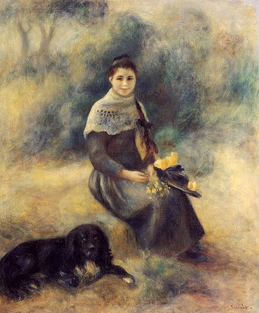 Pierre Auguste Renoir 1888 - Young Girl with a Dog - pc