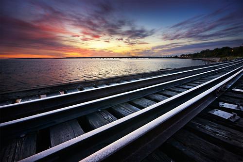 ocean bridge abandoned water clouds sunrise portland maine rail railway promenade moe eastern chen moe76