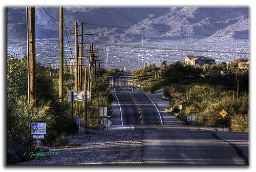 road sunset arizona mountains southwest photoshop landscape landscapes desert az wires roads sunrays cs4 photomatix tonemap dslra350 dslr350 sonydslra350 lgeof