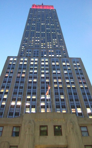 The Empire State from below in front of main entrance