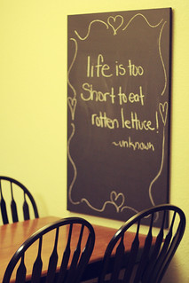 """""""life is too short to eat rotten lettuce"""""""