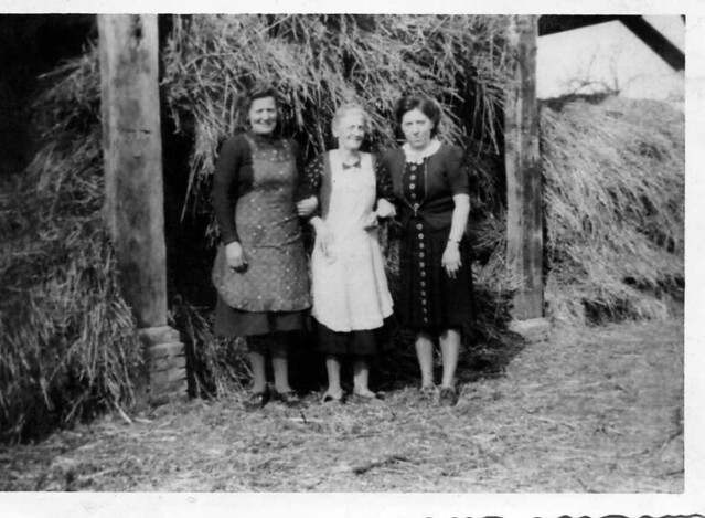 in front of a hay-steck on the Dutch countryside , in or near the village of Groessen in the province of Gelderland , in the year 1943 or 1944