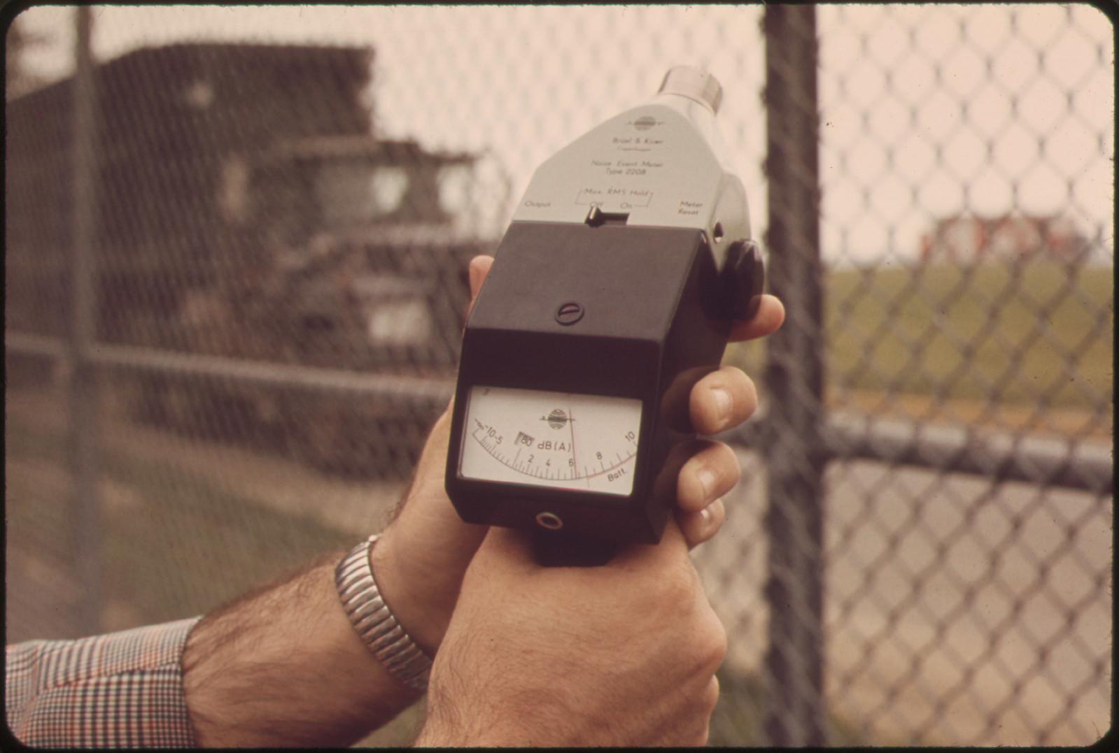 Noise Meter, Held at Logan Airport End of Neptune Road Records Over 86 Decibels