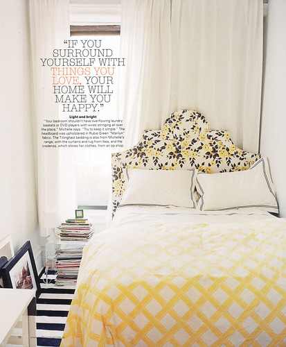 Ideas for small spaces: Lovely yellow + white + black bedroom | by SarahKaron