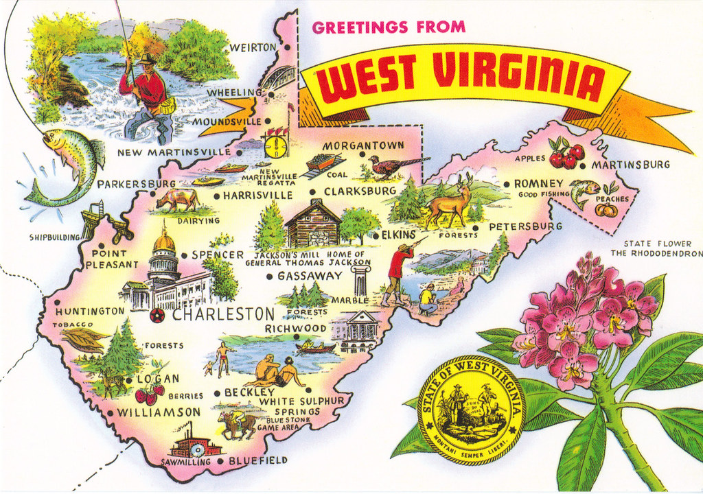 West Virginia State Map Postcard | Private Swap from JustMeS ...