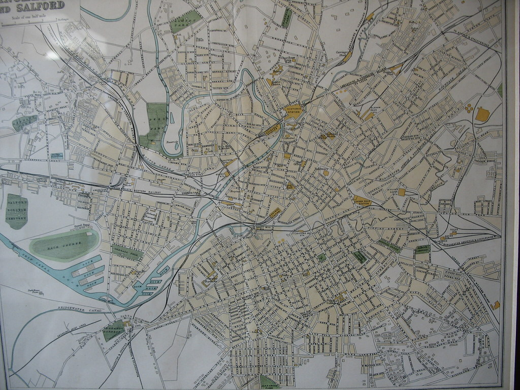 Manchester/Salford Map | A really old school map of Manchest ...