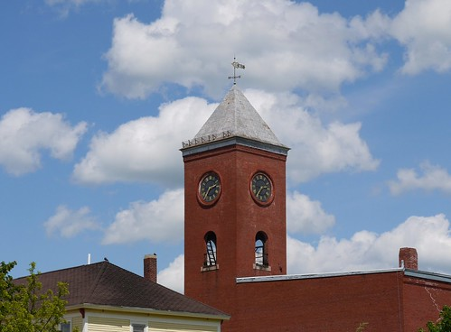 street sky cloud house brick tower history clock me loss norway clouds outside outdoors opera view outdoor decay main bricks maine landmark damage local