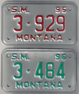 MONTANA 1995 and 1996 ---SPECIAL MOBILE plates