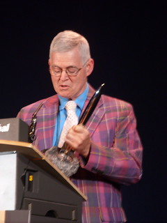 David G. Hartwell winning Hugo award | by Kathryn Cramer