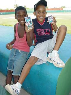 Kids Brandish Baseball Cards at Stadium - San Pedro de Macoris - Dominican Republic